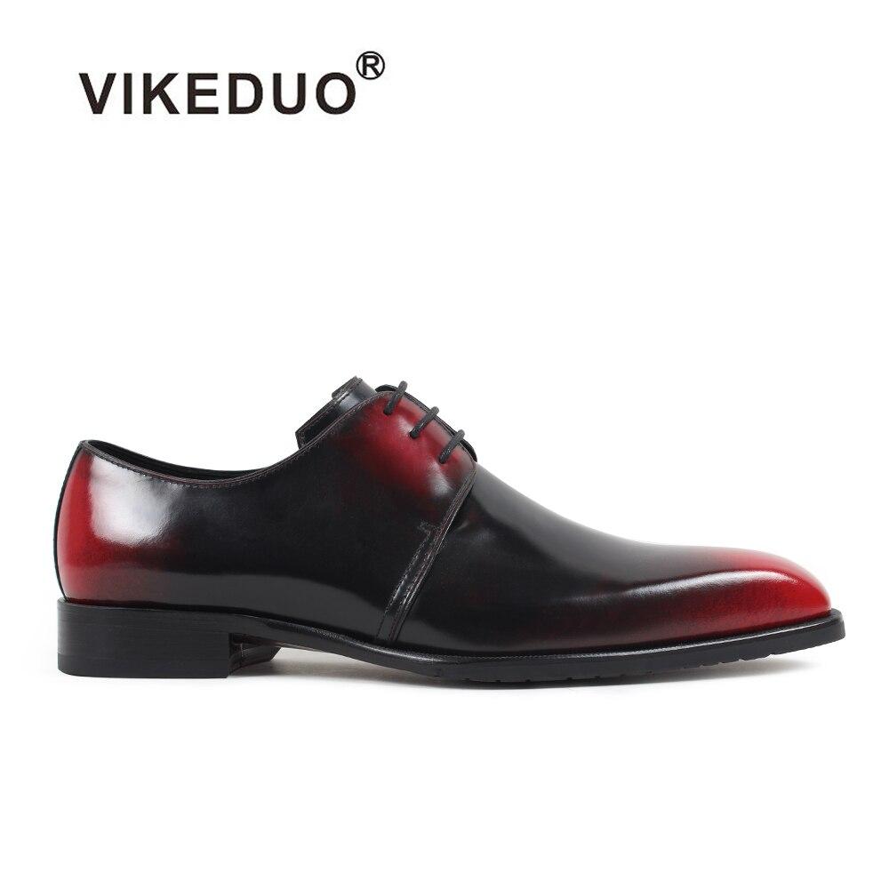 VIKEDUO Luxury Handmade Mens Derby Shoes 100% Genuine leather Exclusive Unique color gradient Shoe Male Footwear original desigN customized new exclusive design handmade