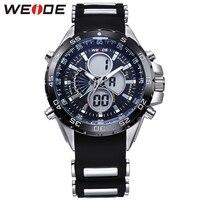 WEIDE marka sportowy zegarek w stylu wojskowym dla mężczyzn czarna wodoodporna cyfrowy zegarek kwarcowy LCD silikonowy pasek na rękę z szkatułce w Zegarki sportowe od Zegarki na