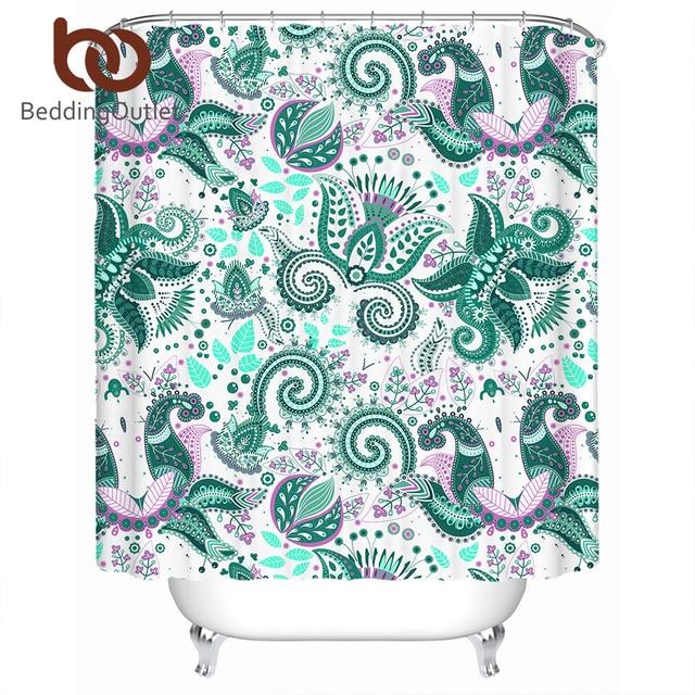 BeddingOutlet Paisley Shower Curtain Green Waterproof Bohemian Floral Bath Bathroom Decoration With Hooks Salle De Bain