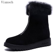 2019 New Fashion Shoe Women Winter Ankle Boots With Fur Shoes Keep Warm Lady wo1808186 jookrrix 2018 summer new girl western style fashion ankle boots rivets shoe women sexy lady shoe black good quality fish mouth
