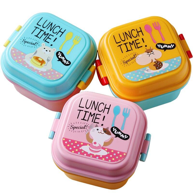 만화 건강한 플라스틱 도시락 상자 전자 레인지 점심 도시락 상자 식품 용기 식기류 어린이 어린이 도시락 상자