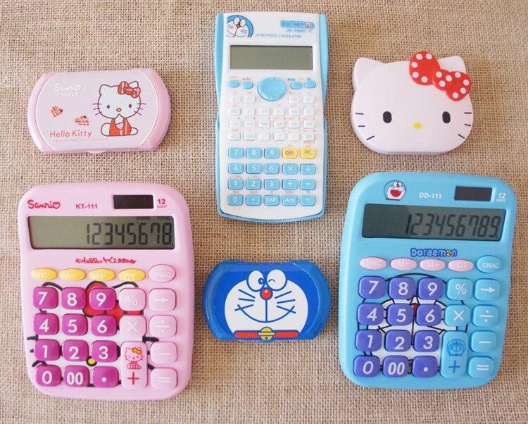 Рисунок «Hello Kitty» Портативный солнечный калькулятор 2in1 питанием 8 цифр 12 разрядный электронный калькулятор с большой кнопкой научный кальку...