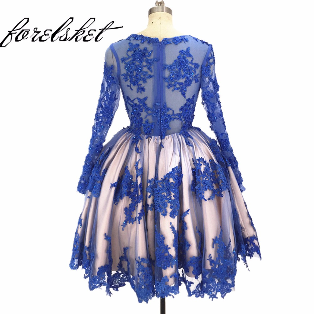 Ball Gown   Prom     Dresses   2019 royal blue Beaded Lace evening   dresses   knee length Long Sleeves Formal Evening   Dress   For Party Gowns