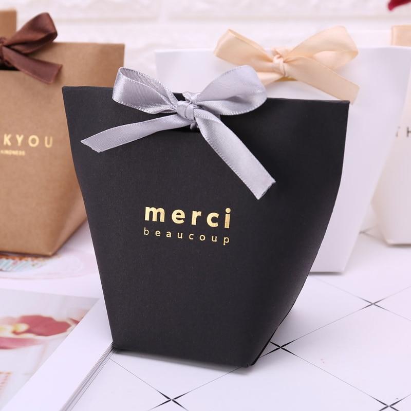 5pcs Luxury Bronzing Merci Candy Bag French Thank You Wedding