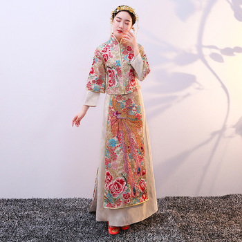 Champagne Trailing Women Marriage Qipao Exquisite Embroidery Phoenix+flower Cheongsam Noble Female Hanfu Clothes Tang Costumes