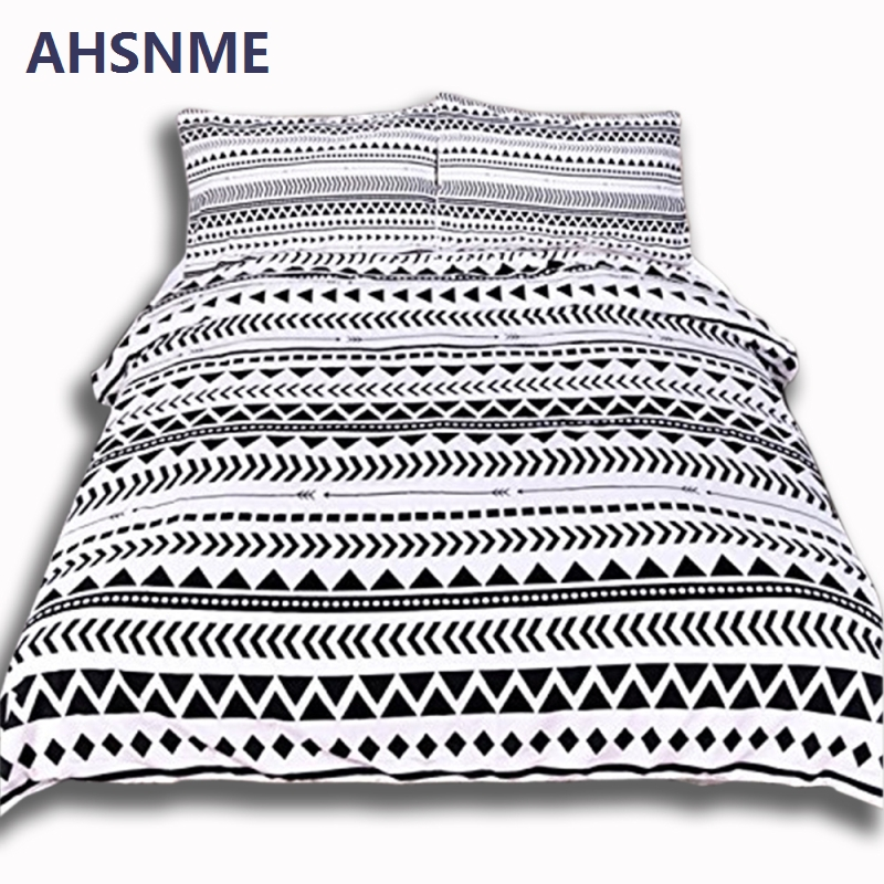 AHSNME Black Geometric Patterns Home Bedding Set White Bedclothes Super Soft Cover For Bed Bedroom Queen King drap de lit ...