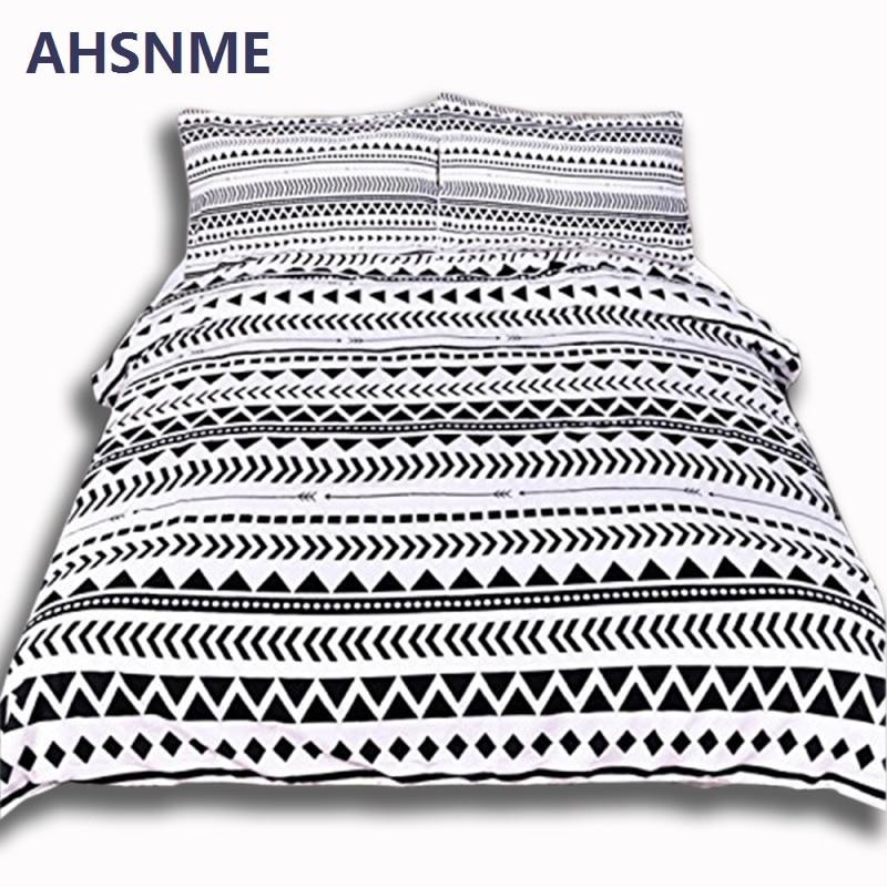 Ahsnme черный геометрический Вышивка Крестом Картины дома Постельное белье Белый постельное белье супер мягкий чехол для кровати Спальня Queen ... ...