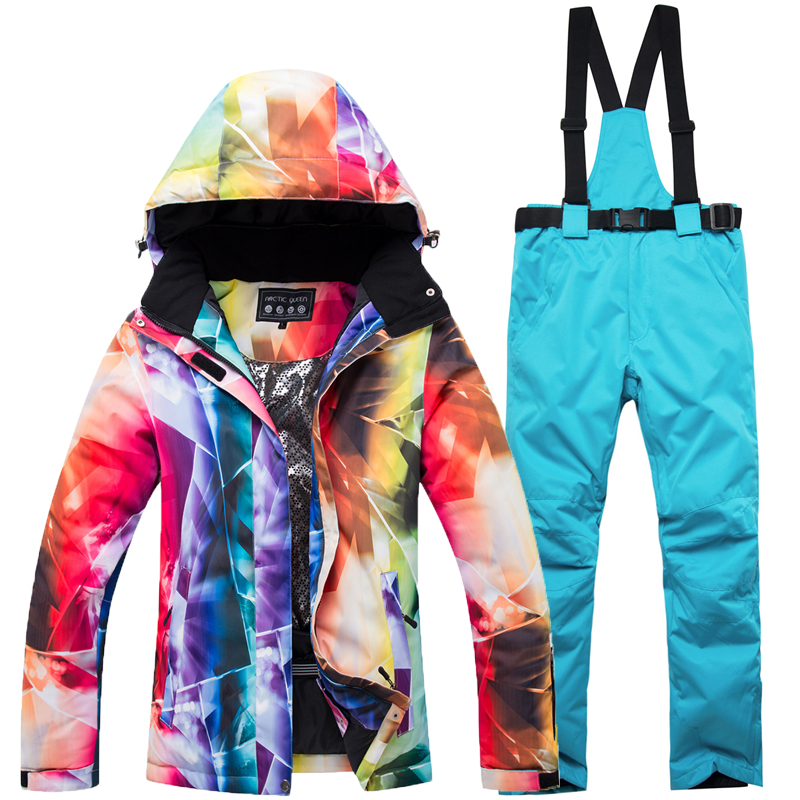 2018 New High Quality Women Skiing Suit Ski Jackets And Pants Snowboarding Sets Very Warm Waterproof Windproof Winter female 2018 new lover men and women windproof waterproof thermal male snow pants sets skiing and snowboarding ski suit men jackets