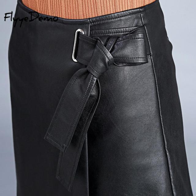 4XL Autumn Winter Women Faux Leather Skirt 2019 Black Pu Leather Belt Female OL Office Short Pantskirt Plus Size 3