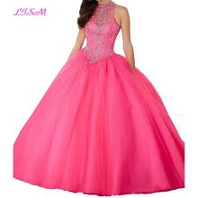 LISM Sheer High Neck Beaded Party Dresses Sweet 16  Ball Gown Rhinestones Lace up Empire Long Quinceanera
