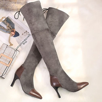 women boots 's shoes winter boots knee high over the knee platform wedges sheepskin suede shoes autumn gray 2018 black