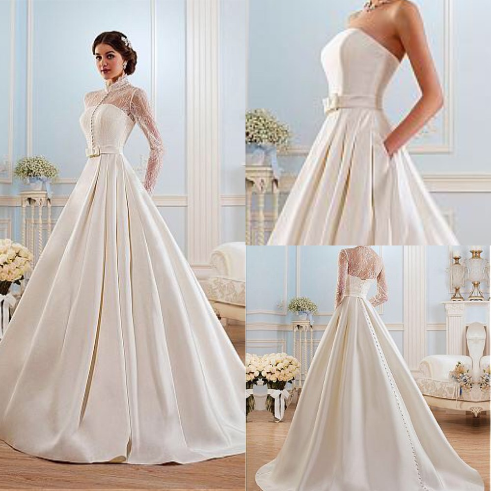 Glamorous Satin High Collar Neckline A-line Wedding Dress See Through Long Sleeve Court Train Bridal Gowns Vestido De Noiva