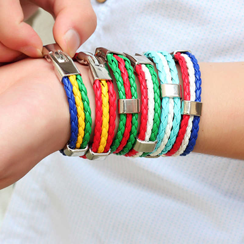 New Fashion Country Flag 3 Rope High Quality Bangle Braided Alloy Leather Elegant Bracelet For Women Men 10 Flag Styles