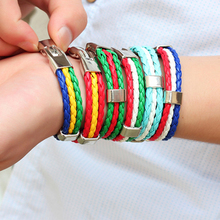 New Women Fashion Country Flag 3 Rope Braided Leather Bangle Bracelet Jewelry 10 Styles