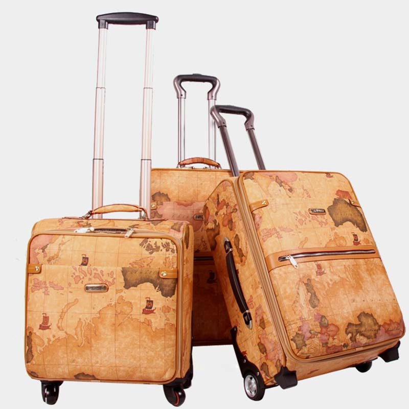 LeTrend Retro map PU Leather Spinner Rolling Luggage Women Password Trolley Men Suitcase Wheels 20 inch