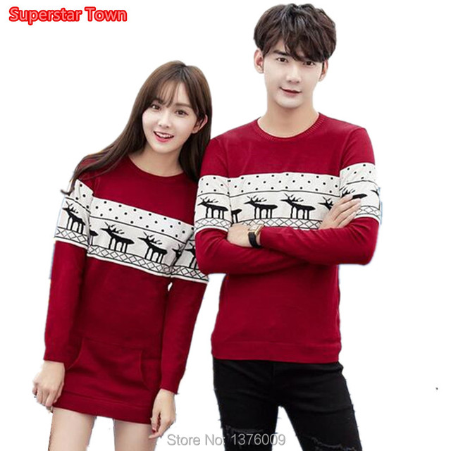 71f2c00111 Women Shirt Snowflake Elk Print Christmas Long Style Autumn Winter Long  Sleeve T shirt Lover Couple Matching Knitted Tops Thin