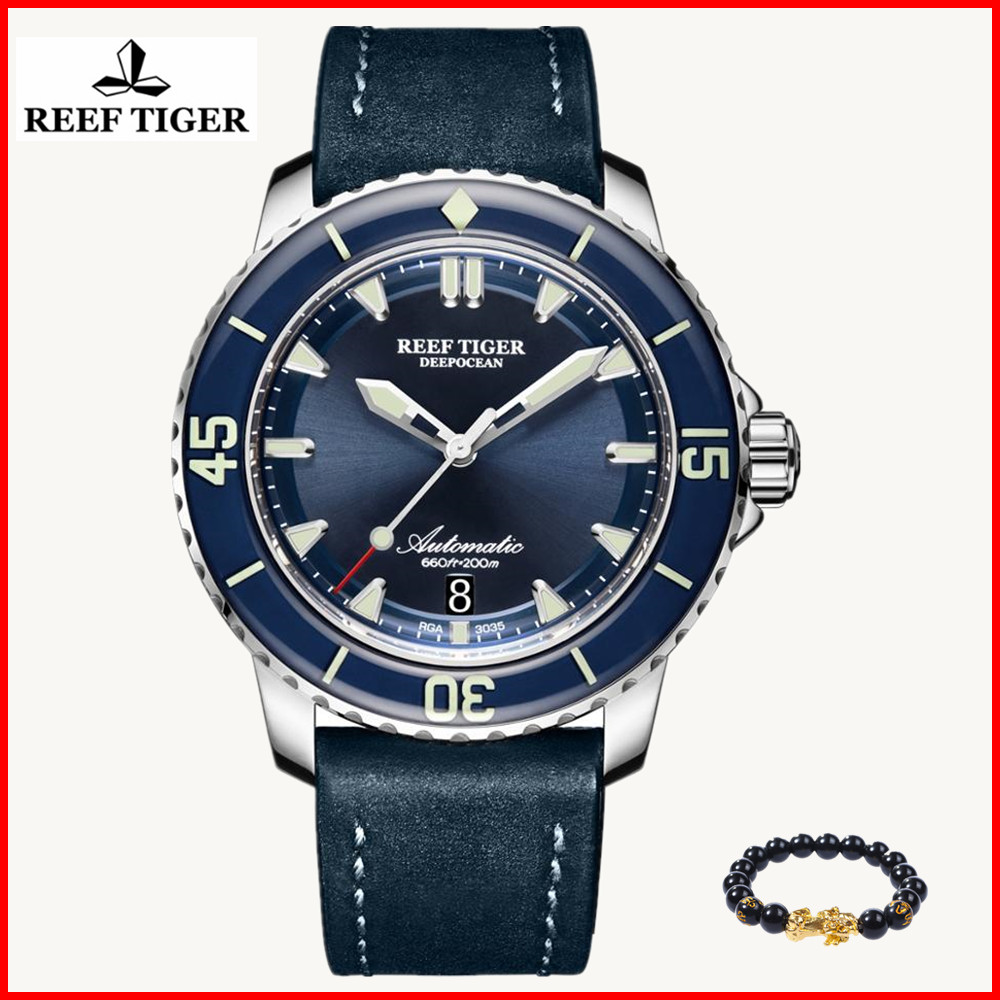 2019 Reef Tiger Brand Super Luminous Simple Dive Watches Men Nylon Strap Blue Dial Analog Automatic Watches reloj hombre RGA30352019 Reef Tiger Brand Super Luminous Simple Dive Watches Men Nylon Strap Blue Dial Analog Automatic Watches reloj hombre RGA3035