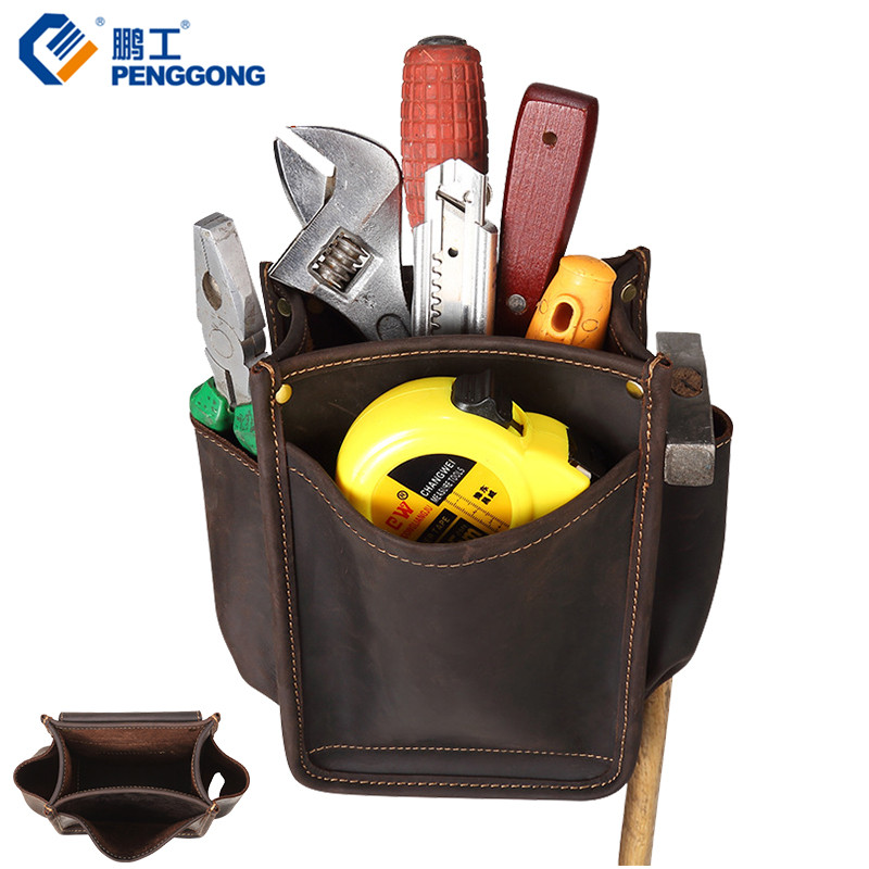 Cow Leather Tool Bag 22 15 9cm Electrician Tool Holder Brown Carpenter Tool Pouch Wrench Plier