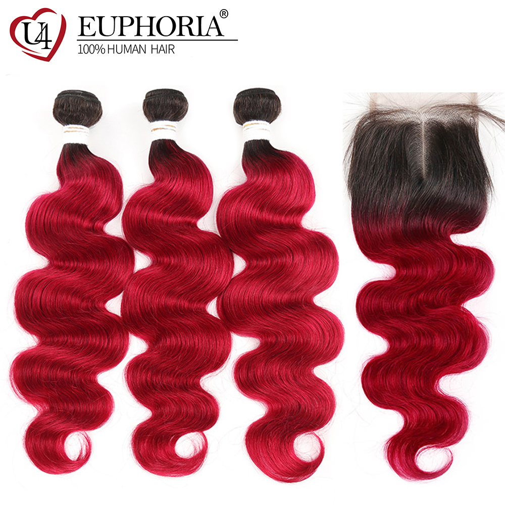 1B 99J/Burgundy Hair Bundles With Closure Euphoria Brazilian Dark Roots Red Color Remy Human Bundle Hair With Body Wave Closures