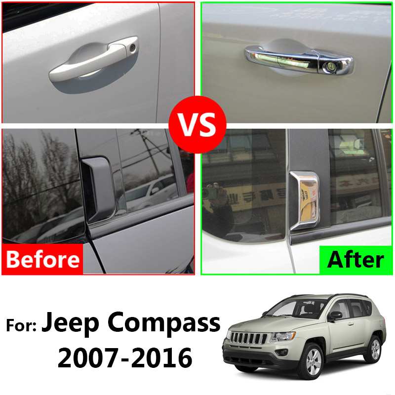 For 2007-2016 JEEP COMPASS Chrome Door Handle COVERS+Mirrors+Tailgate W// Logo