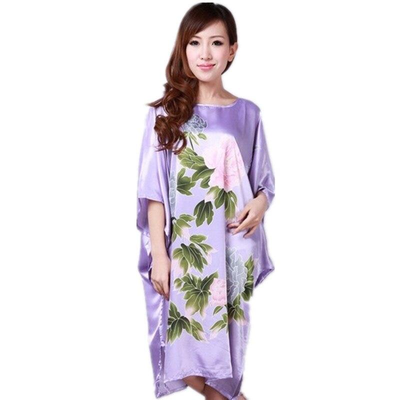 Purple Ladies Robe Summer Pajamas Chinese Women Rayon Sleepwear Kimono Bath Gown Nightgown Kaftan Yukata One Size M07