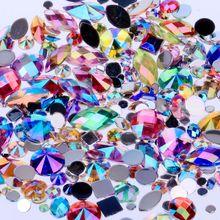 مختلط 300 قطعة أحجار الراين كريستال واضح AB لتقوم بها بنفسك غير الإصلاح مسطحة الاكريليك مسمار الأحجار الكريمة للزينة ثلاثية الأبعاد