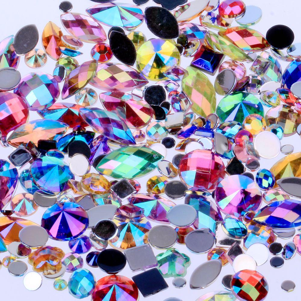Mixed 300pcs Crystal Clear AB Nail Art R