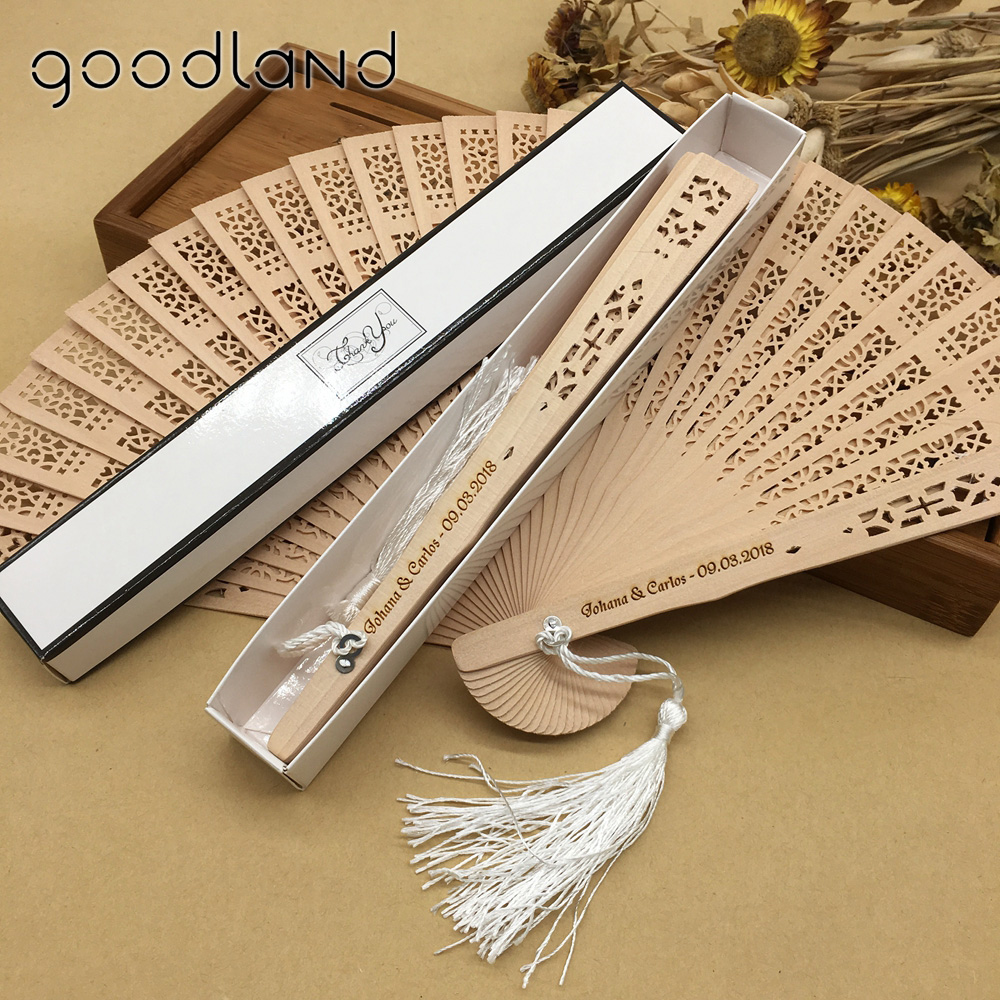 Free Shipping 30pcs Personalized Asian Pocket Folding Fan Wooden Carved Hollow Out Hand Folding Fans Wedding