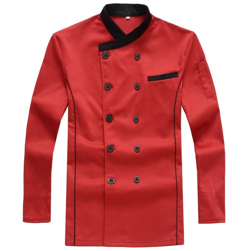 Hotel Chef nosí podzimní rukávy na pečení s dlouhým rukávem, uniformy pro kuchyňské šéfkuchaře v západním stylu pro muže a ženy