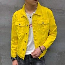 Denim ceket erkekler jaqueta masculino kore şık kısa ceket erkek streetwear giyim hip hop delik yırtık kot ceketler erkekler için