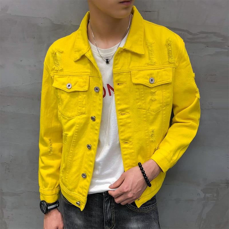 Jaqueta Masculino Autumn New Denim Jacket Men Turn Down Collar Simple Loose Men Jacket Lovers Long Sleeve Hole Jeans Jacket Men