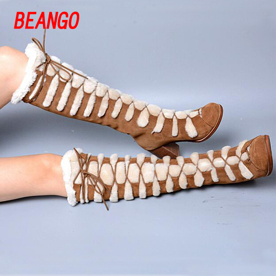 BEANGO Fashionable Women Winter Knee High Boots Cow Suede Sheep Fur Warm High Heel Boots Chunky Heel Sexy Long Bota
