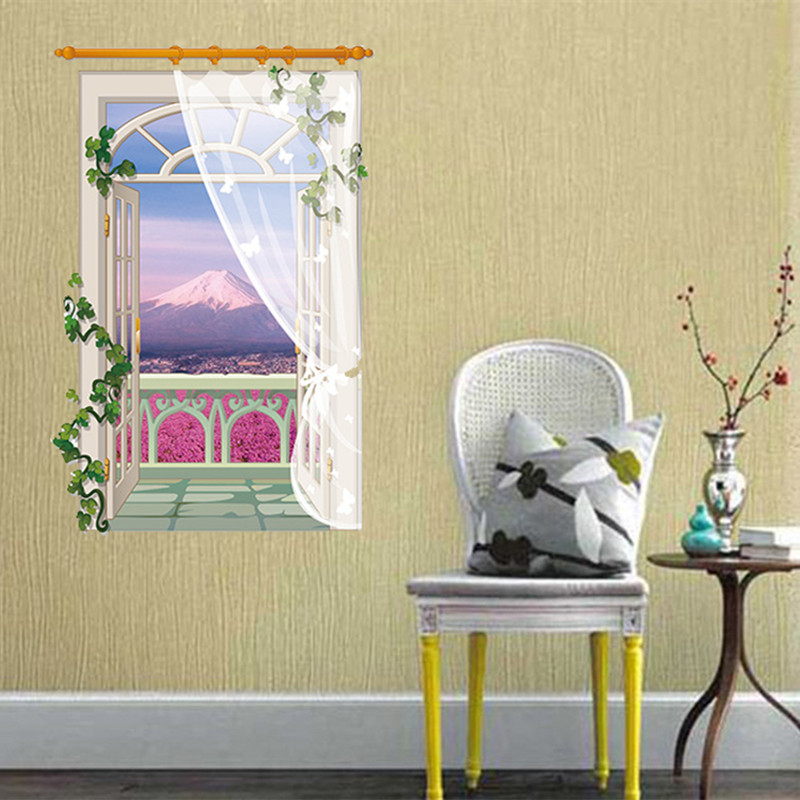 European Fake Window Stream Pool Garden 3D Wall Sticker Creative ...