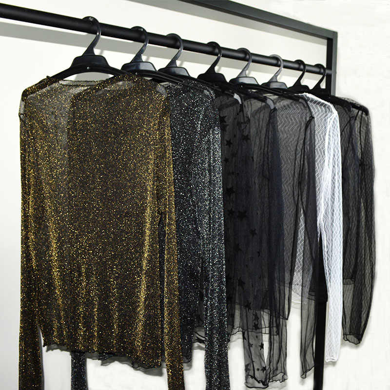 Women Autumn Summer Stretchy Black White Lace Blouses Shirt Lady Sexy Golden Mesh Blouse Long Sleeve Dots Striped Shirt Tops