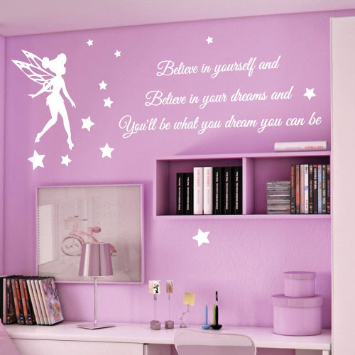 F0090 DTY Vinly Tinkerbell Wall Stickers For Nursery Children Girl Stickers  Home Decoration Mural Free Shipping