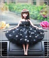 Black Dress Style Wedding Cake Topper Figurines Girl's Birthday Cake Topper Bridal Shower Decoration Girl's Car Decoration
