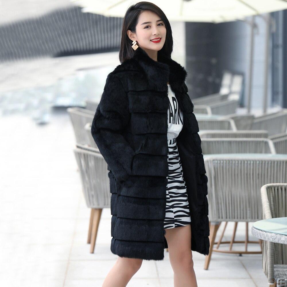 2019 TONFUR Natural Full Genuine Rabbit Fur with Striped Cut Long Gift Coat For Women Plus