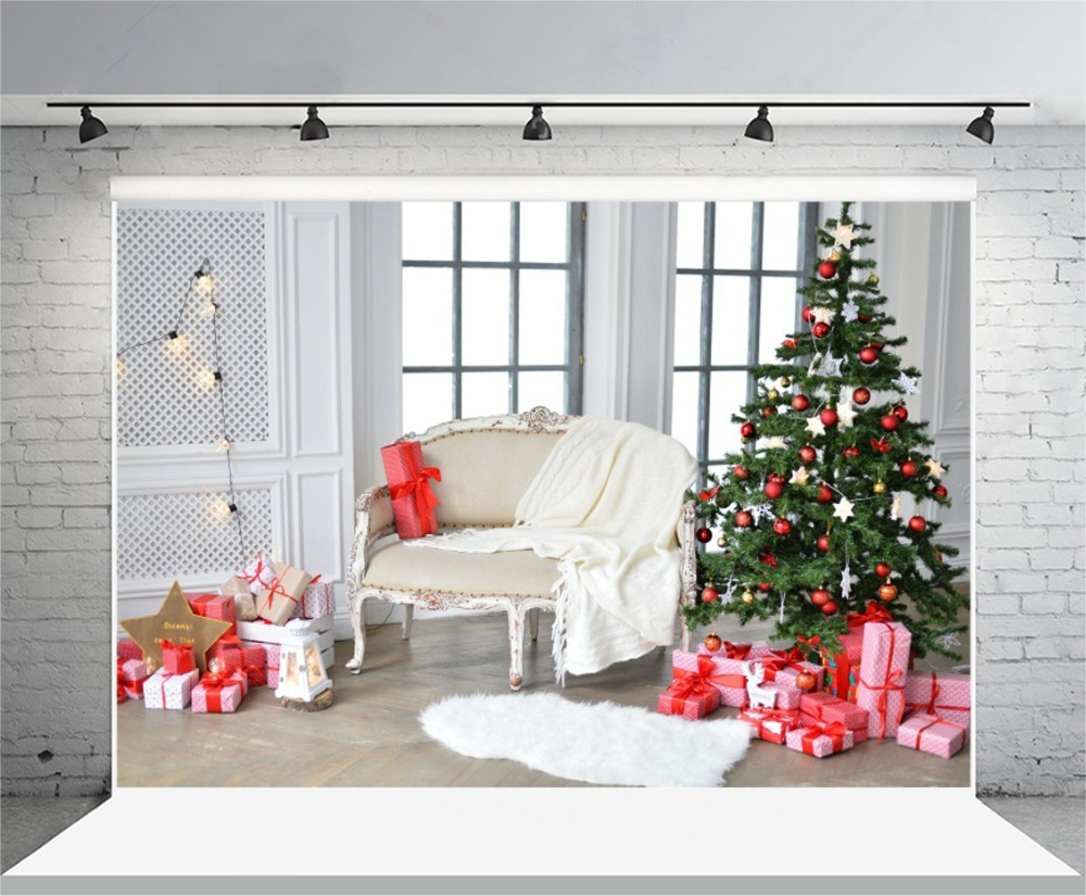 laeacco bright indoor window christmas tree gifts chair photography backdrops vinyl custom photo backgrounds for photo studio in background from consumer - Indoor Window Christmas Decorations