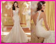 2014 New Arrival Ivory Mermaid Lace Open Back Backless Wedding Dress Bridal Gowns W2637 все цены
