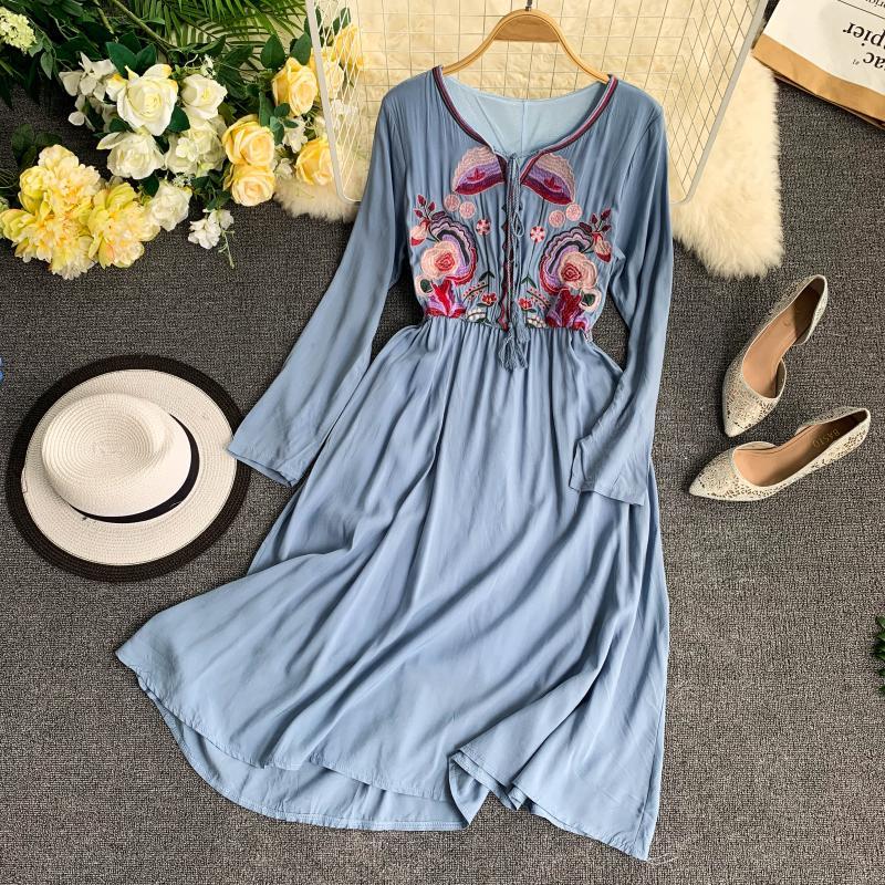 Bohème Style National été robe brodée o-cou à manches longues doux Maxi longue Boho robe 2019 nouvelle femme grande taille