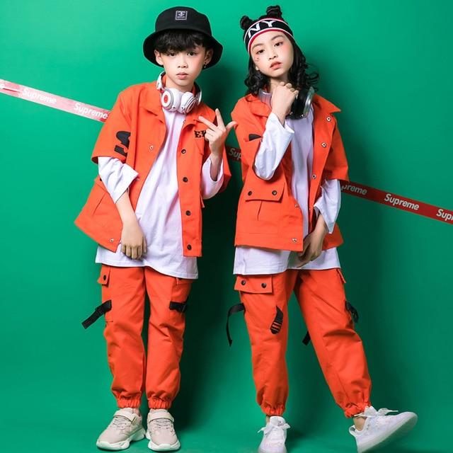 Kids Hip Hop Clothing Girls Boys Sweatshirt Jogger Pants Jazz Dance Costumes Set Ballroom Dancing Clothes Outfits Boys Coats