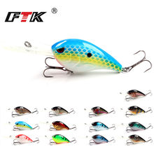 FTK Fishing Lure 1pc VIB Wobbler Tackle Swim Bait Sinking 3D Eye Hard Lure Minnow Crankbait 76mm/28g Floating Hooks Topwater HB(China)