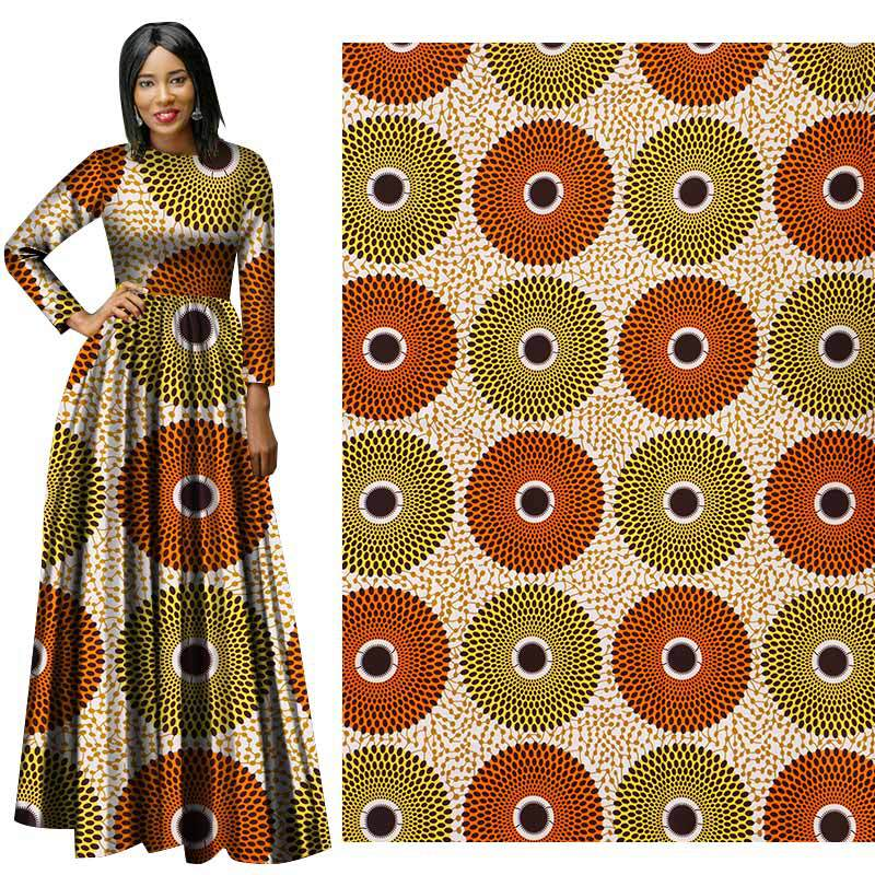 African National Costumes Circle Printing pattern all polyester printed fabric Yellow african wax print  ankara christmas