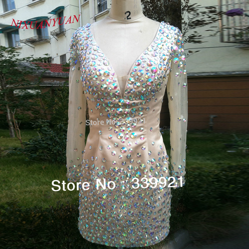 Real Photo Hot Sale Highest Quality Sheath Deep V neck Full Beaded With Long Sleeve Mini