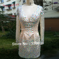 Real Photo Hot Sale! Highest Quality Sheath Deep V neck Full Beaded With Long Sleeve Mini Sexy Cocktail Dress 2017 Party Dress