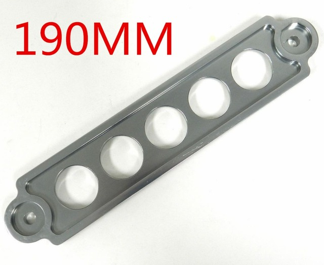 5 Holes 190MM Grey Color CHROME BILLET ALUMINUM BATTERY TIE DOWN BRACKET FOR Toyota BMW - Grey