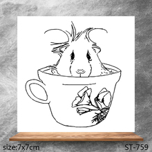 ZhuoAng Mouse in the cup Transparent Seals for DIY scrapbooking photo album Clear Stamps 7*7cm