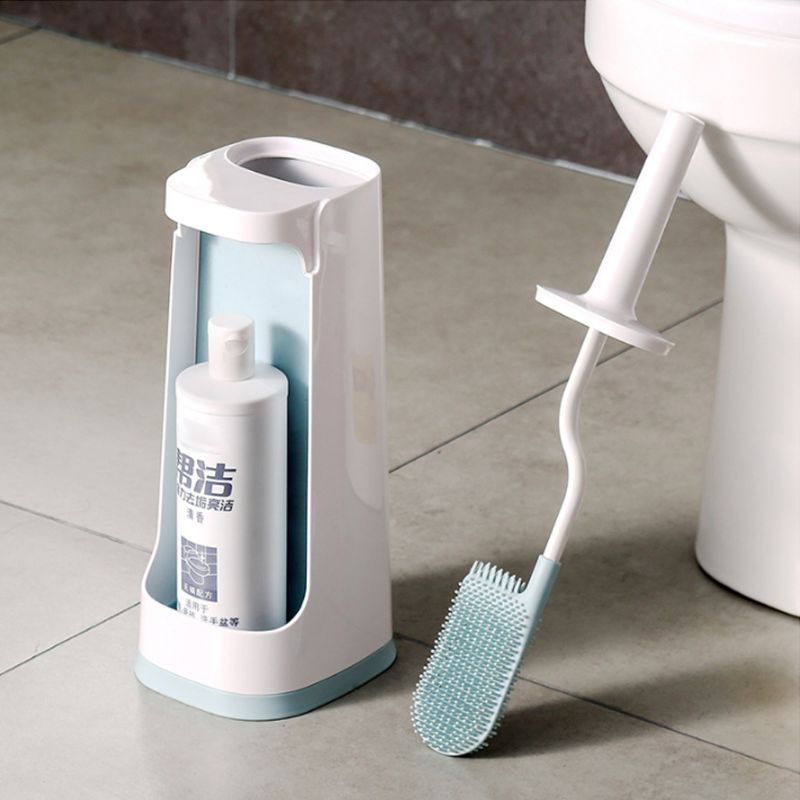 Long Handle Double Sided Toilet Cleaning Brush Deep Cleaner Tool TPR Flexible Bristles With Holder Set Bathroom AccessoryLong Handle Double Sided Toilet Cleaning Brush Deep Cleaner Tool TPR Flexible Bristles With Holder Set Bathroom Accessory