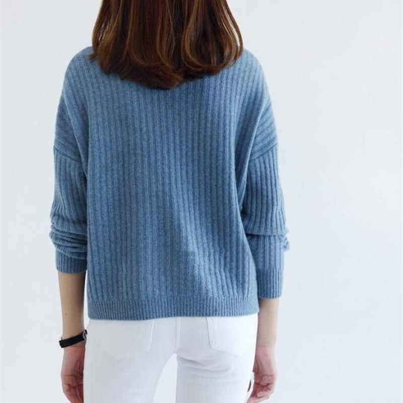 2019 new pure color cashmere sweater women turtleneck loose stripe style winter warm pullover female fashion casual sweater