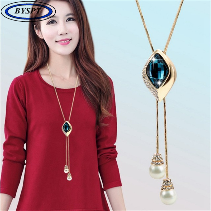 BYSPT Women Square Crystal Sweater Chain Long Paragraph With Jewelry Pendant Collana decorativa semplice